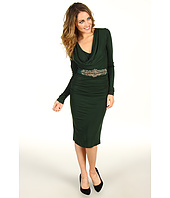 Badgley Mischka - Long Sleeve Cowl Neck Dress With Belt