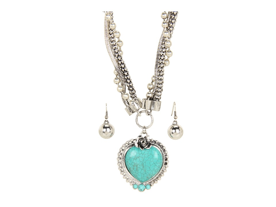 M&F Western - Turquoise Heart Necklace/Earring Set