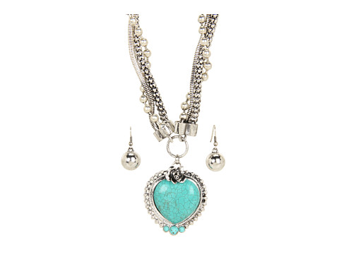 M&F Western Turquoise Heart Necklace/Earring Set