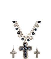 Nocona - Beaded Cross & Antique Bead Necklace/Earring Set