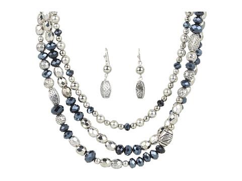 M&F Western Triple Layer Beaded Necklace/Earring Set