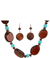 Nocona - Strand Wood and Turquoise Necklace/Earring Set
