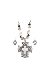Nocona - Antiqued Beaded Cross Necklace/Earring Set