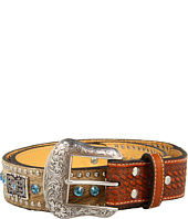 Cheap Nocona Hair Calf Belt With Studs Rhinestones And Rectangle Conchos Natural Hair Calf Blue