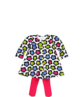 le top - A' La Mod Flared Dress w/ Front Buttons & Pink Pima Tights (Newborn/Infant)