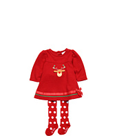 le top - Merry Reindeer French Rib Flared Dress, Set w/ Red Tights w/ White Dots (Newborn/Infant)