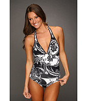 Tommy Bahama - Paisley Halter Cup V-Neck One-Piece w/ Low Back