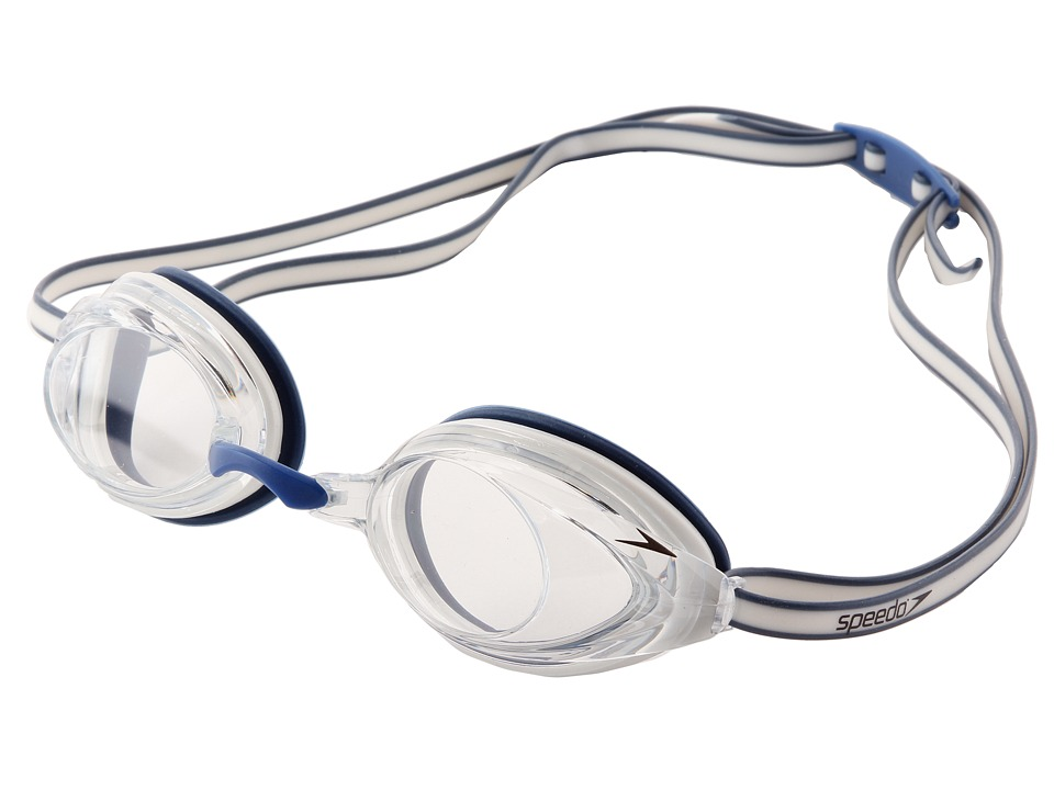 Speedo - Vanquisher 2.0 Goggle (White/Navy/Clear Lens) Water Goggles