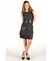Laundry by Shelli Segal - Tiered Heather Jersey/Faux Leather Tank Dress