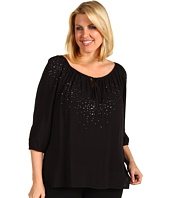 Karen Kane Plus - Plus Size Keyhole Top With Rhinestones