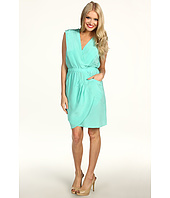 Donna Morgan - Mock Wrap Top Side Draped Skirt Dress