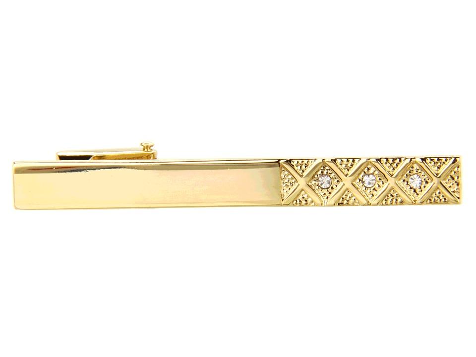 Stacy Adams Tie Bar 30004 Gold w/Crystal Cuff Links
