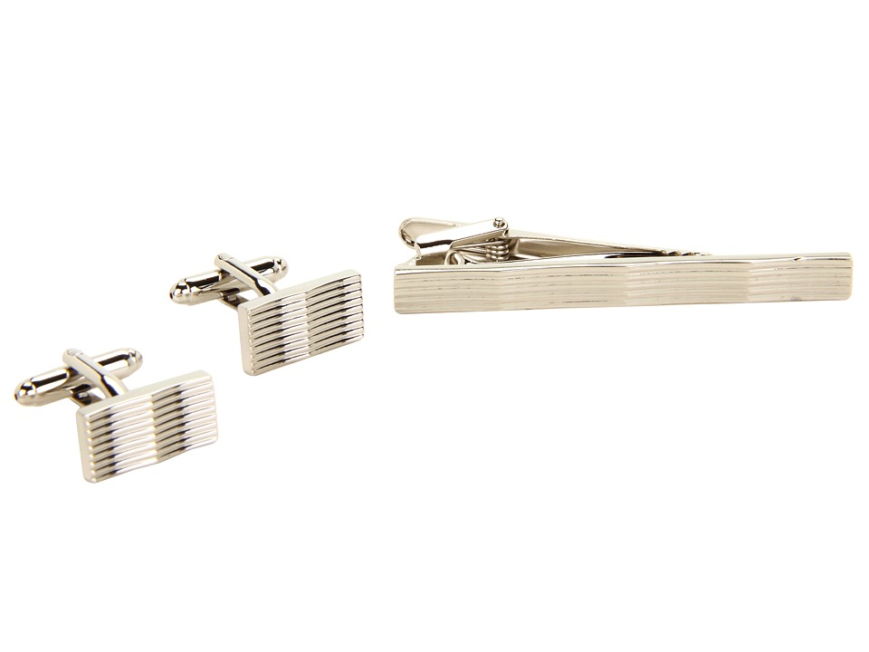 Stacy Adams Cuff Link/Tie Bar Set 89139 Silver Cuff Links