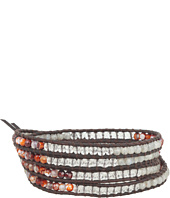 Chan Luu - Pyrite Mix Wrap Bracelet On Natural Dark Brown