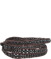 Chan Luu - Graduated Onyx Stone Wrap Bracelet On Natural Dark Brown Leather