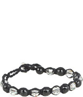 Chan Luu - Onyx and Crystal Satin Mix Single Bracelet On Cotton Cord