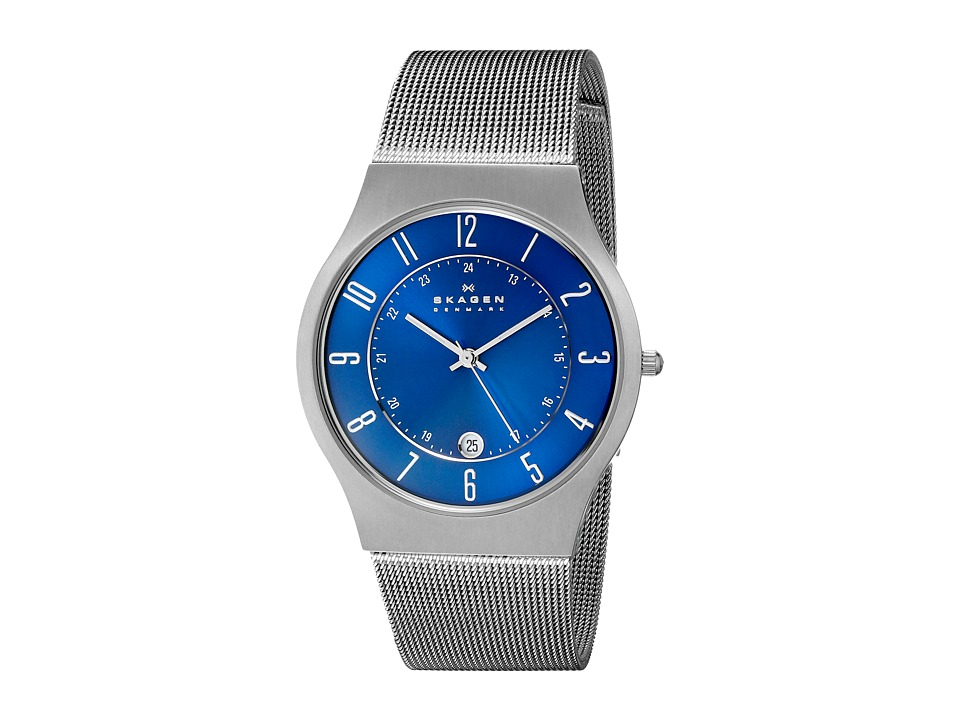 Skagen - 233XLTTN Titanium Watch (Grey/Blue) Analog Watches