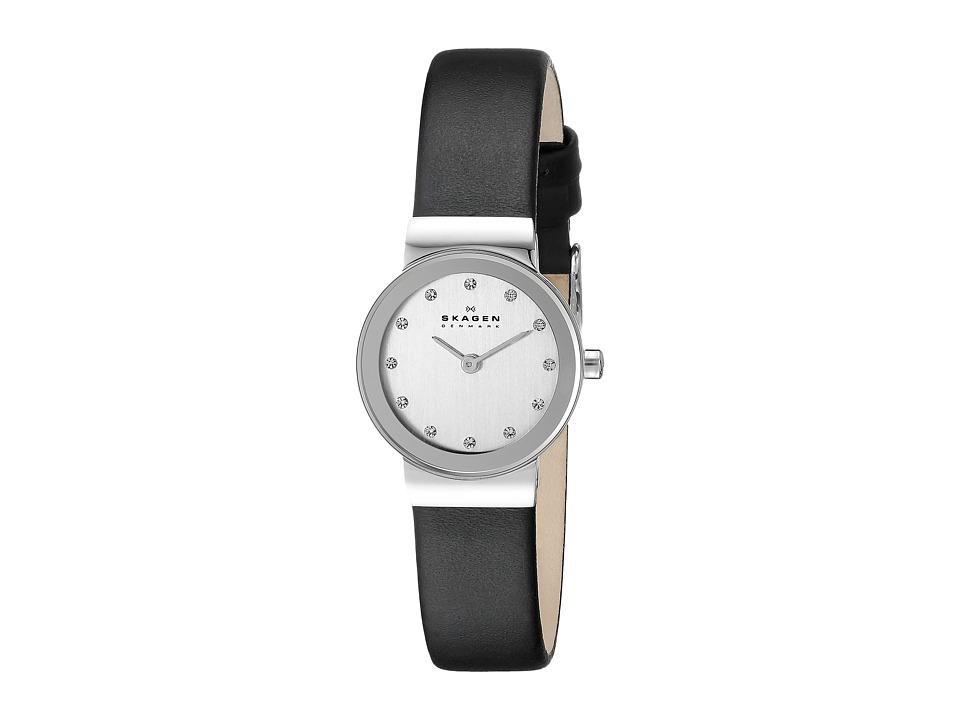 Skagen 358XSSLBC Steel Collection Leather Glitz Watch Black/Chrome Analog Watches