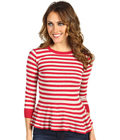 Autumn Cashmere - Striped Peplum with Back Contrast Buttons