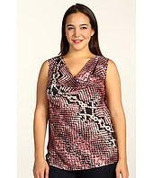 DKNY Jeans - Plus Size Anaconda Print Cowl Neck Tank w/ Knit Back