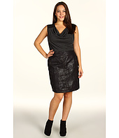 DKNY Jeans - Plus Size Cowl Neck Faux Suede and Knit Combo Dress
