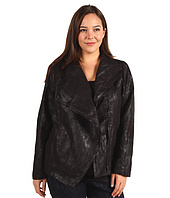 DKNY Jeans - Plus Size Faux Suede Draped Front Jacket