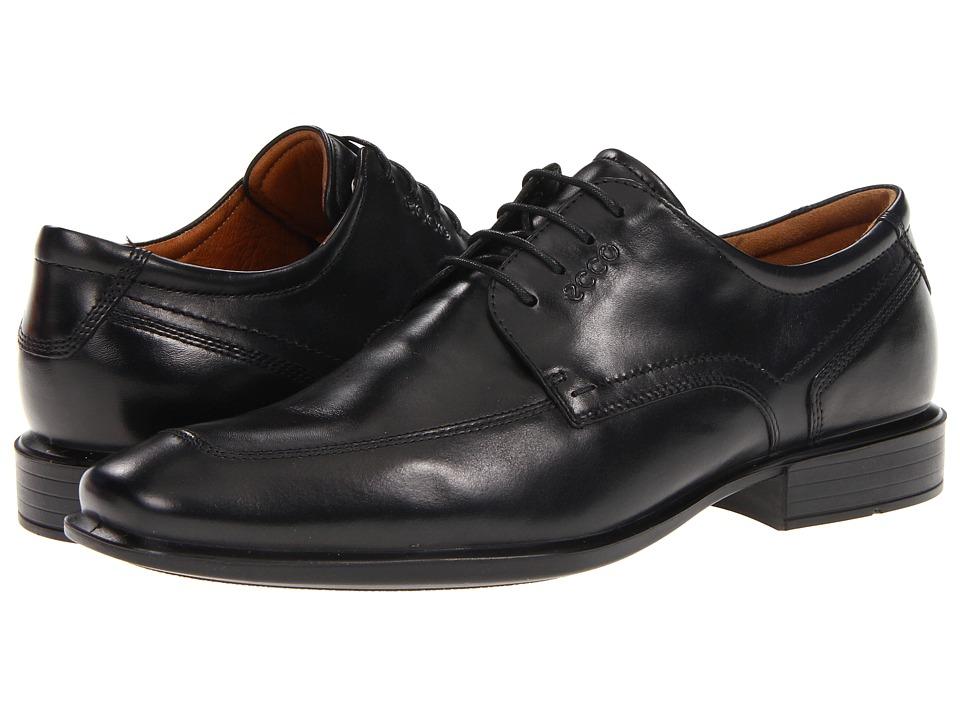 ECCO Cairo Apron Toe Tie Black Oxford Leather Mens Lace Up Moc Toe Shoes