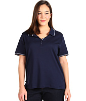 Jones New York - Plus Jones New York Signature S/S Drop Button Polo W/ Contrast Tipping