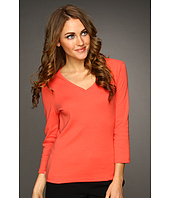 Jones New York - Jones New York Signature 3/4 Sleeve V-Neck W/ Grosgrain In Back Neck