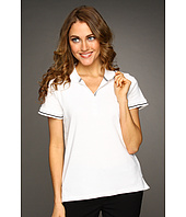 Jones New York - Petite Jones New York Signature S/S Drop Button Polo W/ Contrast Tipping