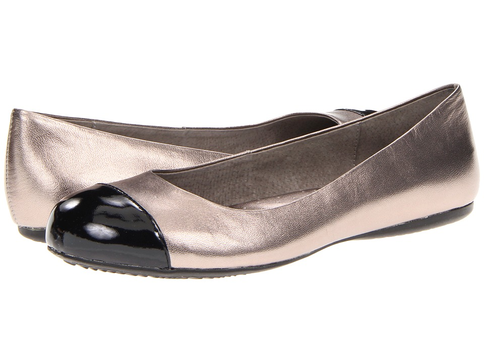 SoftWalk Napa Soft Pewter/Black Soft Metallic Leather/Patent Womens Flat Shoes
