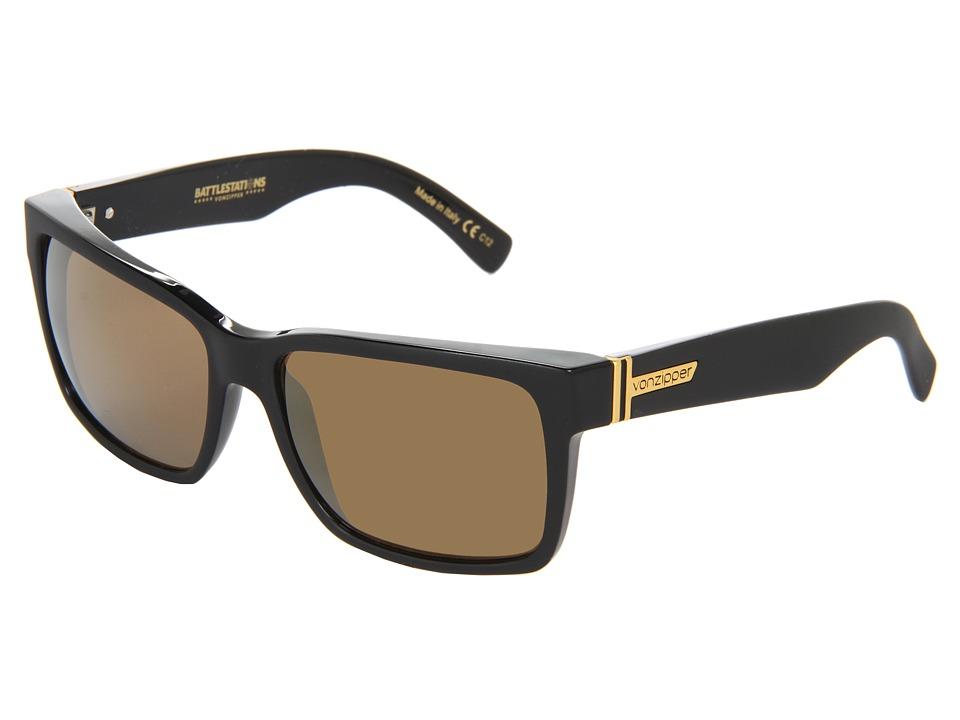 VonZipper Elmore (Black/Gold Chrome) Sport Sunglasses