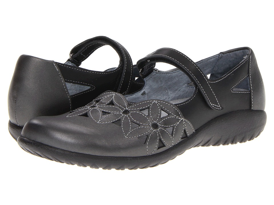 Naot Toatoa (Metallic Road Leather/Jet Black Leather) Women's Hook and Loop Shoes