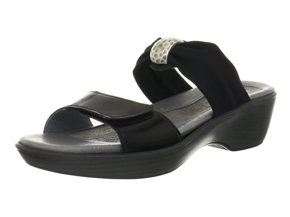 Naot Footwear Pinotage Black Madras Leather/Black Stretch Womens Sandals