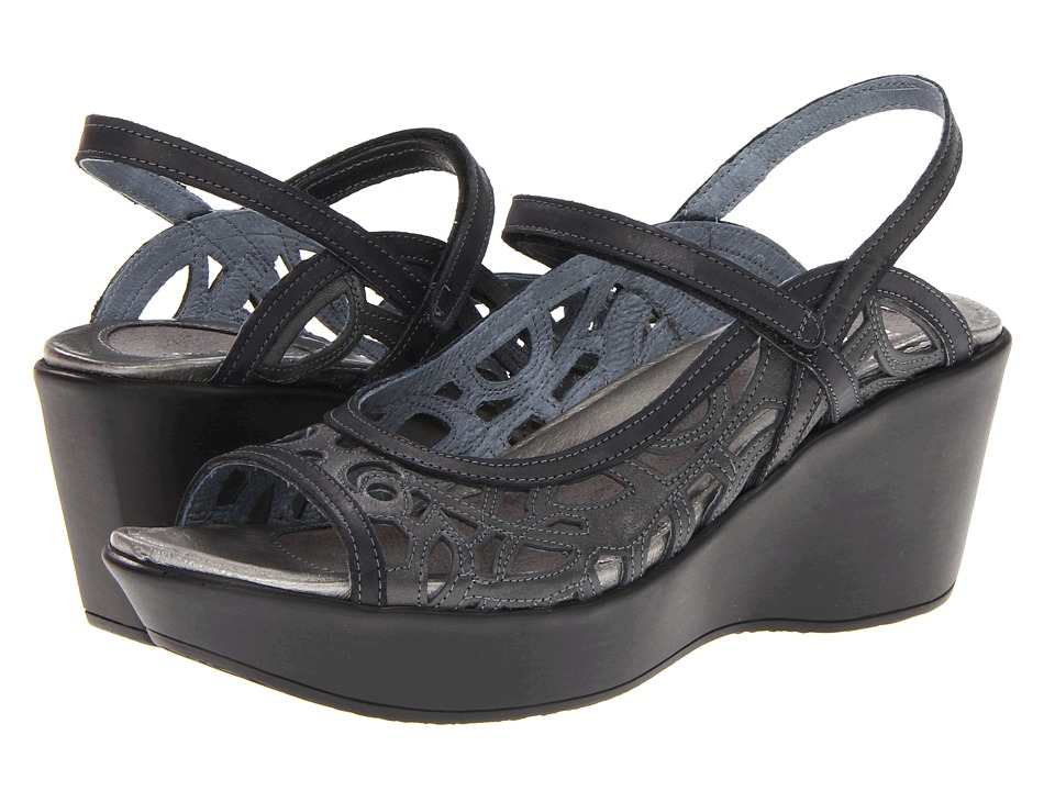 Naot Footwear Deluxe Metallic Road Leather/Brushed Black Leather Womens Sandals