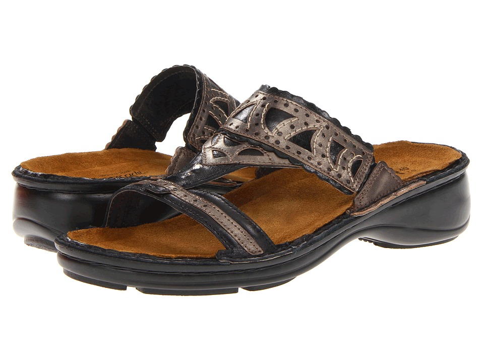 Naot Footwear Oleander Black Madras Leather/Pewter Leather Womens Sandals