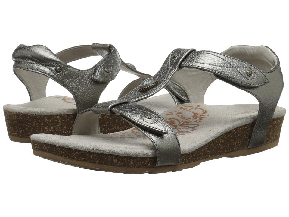 Aetrex Lori Adjustable Quarter Strap Pewter Womens Sandals