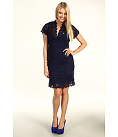 Nicole Miller - Cap Sleeve V-Neck Lace Dress