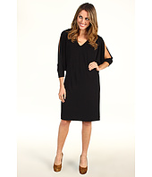 Nicole Miller - V-Neck Matte Jersey Cold Shoulder Dress