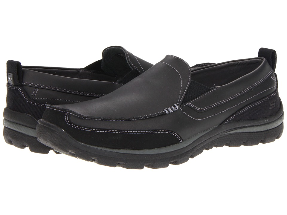 SKECHERS - Relaxed Fit Superior - Gains (Black) Mens Slip on  Shoes