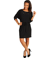 Jessica Howard - 3/4 Sleeve Tie Waisted Blouson Dress w/ Beaded Neckline