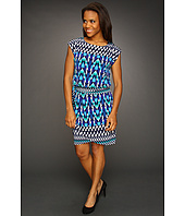 Jessica Howard - S/S Tie Waist Blouson Dress w/Faux Wrap Skirt