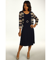Jessica Howard - Sleeveless Ruched Waist Dress w/ Buckle and 3/4 Sleeve Crop Jacket