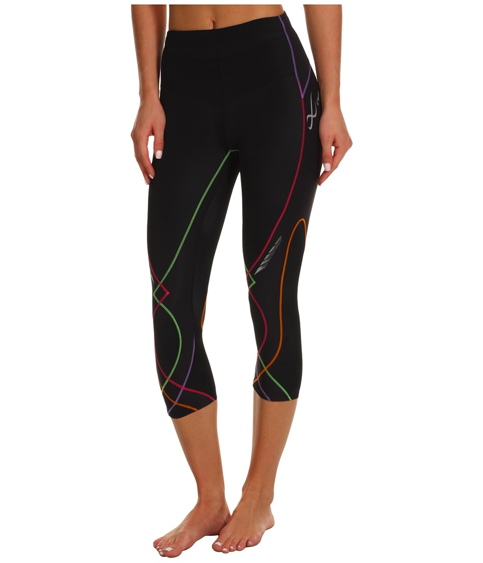 CW-X - Stabilyxtm 3/4 Tight (Black/Rainbow Stitch) Womens Workout