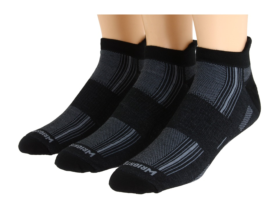 Wrightsock - Stride Tab 3-Pair Pack (Black) Crew Cut Socks Shoes
