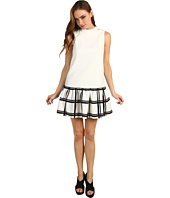 Tibi - Checkered Border on Cotton Crepe Dropwaist Dress