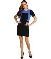 Tibi - Ponte Color Block Paneled Short Sleeve Dress