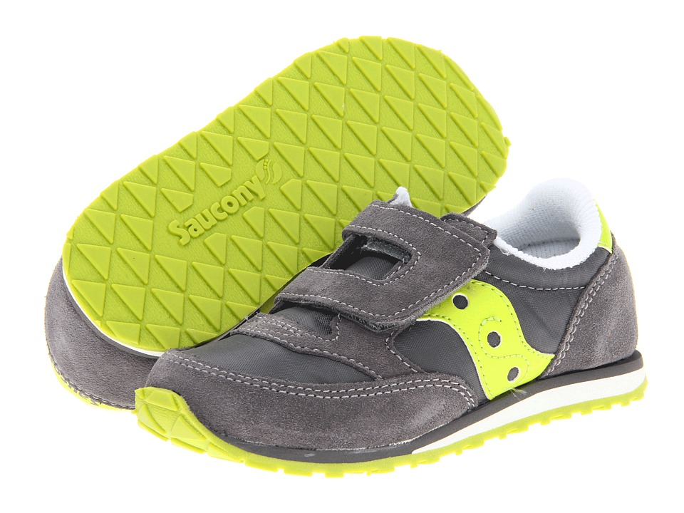 Saucony Kids Jazz HL Toddler/Little Kid Grey/Citron Kids Shoes