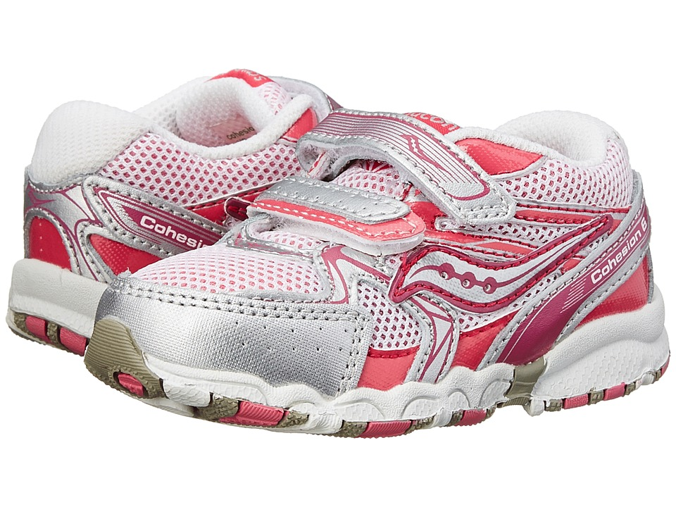 Saucony Kids Cohesion 6 HL Big Kid Pink/Silver Girls Shoes
