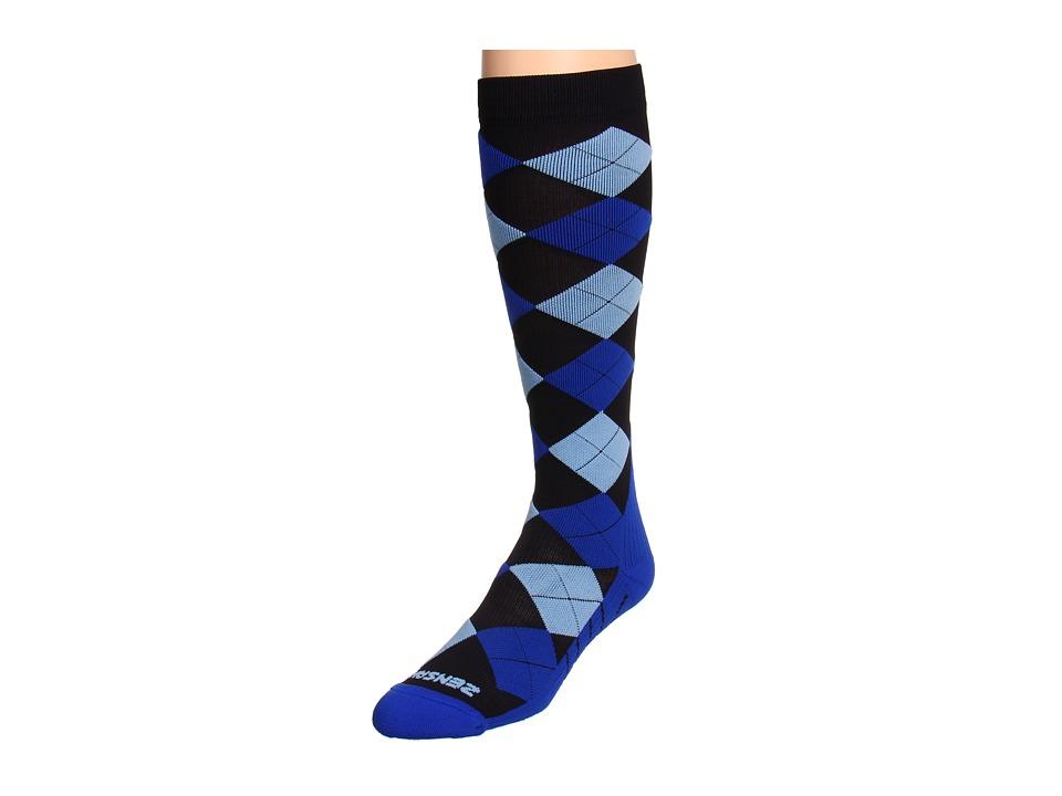 Zensah - Argyle Compression Socks (Blue/Royal/BB) Crew Cut Socks Shoes